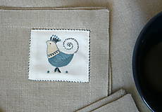 Úžitkový textil - ľanové prestieranie s ručnou výšivkou sada 6 ks - 11668037_