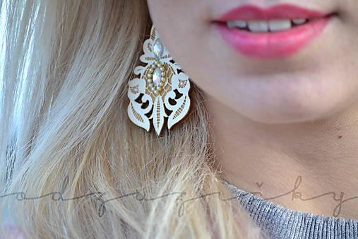 Šperky čipka  (Náušničky cca 7 cm - Biela)