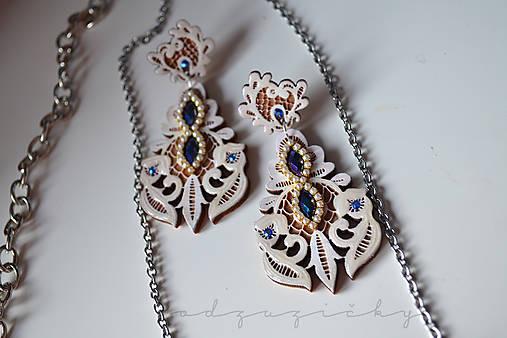 Šperky čipka  (Náušničky cca 7 cm - Modrá)