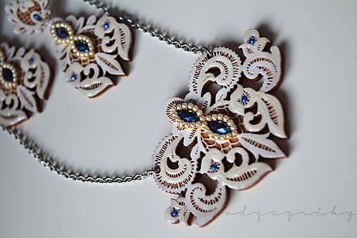 Šperky čipka  (Náhrdelník cca 7 cm - Modrá)