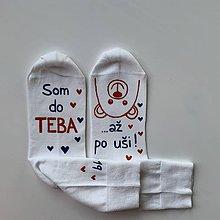"""Obuv - Maľované ponožky s nápisom: """"Som do teba / až po uši"""" (Biele) - 11669096_"""