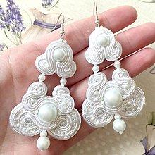 Náušnice - Wedding White Soutache Earrings / Výrazné náušnice - sutašky - 11669684_