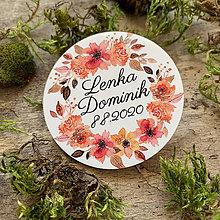 Darčeky pre svadobčanov - Magnetky pre svadobčanov venček jesenný - 11669771_