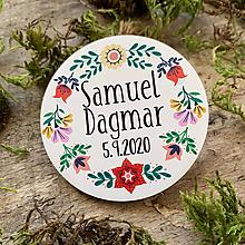 Darčeky pre svadobčanov - Magnetky pre svadobčanov venček folk 2 - 11670030_