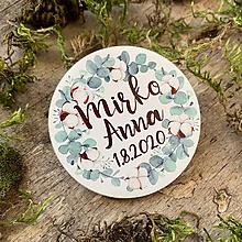 Darčeky pre svadobčanov - Magnetky pre svadobčanov venček zelený 2 - 11670481_