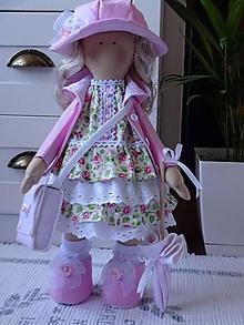 Bábiky - Ružová bábika v klobúku so slnečníkom - 11670069_