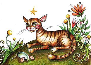 Kresby - Mačka domáca - originál. - 11671021_