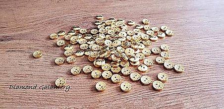 Galantéria - Gombík Zlatý - 10 mm - Štruktúrovaný - 11669774_