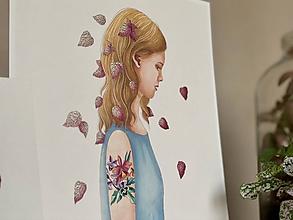 Grafika - Dievča s fitóniou - Print | Botanická ilustrácia - 11669542_