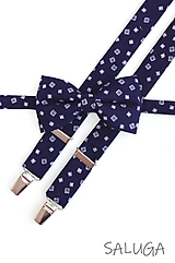 Doplnky - Pánsky tmavo modrý motýlik a traky - vzorovaný - navy blue - 11671754_