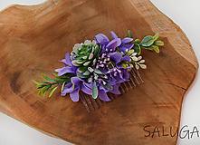 Ozdoby do vlasov - Kvetinový hrebienok do vlasov - fialový - 11671904_