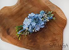 Ozdoby do vlasov - Kvetinový hrebienok do vlasov - modrý - 11671926_
