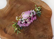 Ozdoby do vlasov - Kvetinový hrebienok do vlasov - ružovofialový - - 11671939_