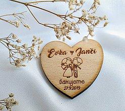 Darčeky pre svadobčanov - Svadobné magnetky . zaľúbenci (Magnetky bez lemu) - 11671291_