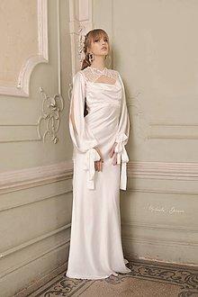 Šaty - Saténové svadobné šaty na ramienka s bolerkom - 11671981_