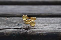 Prstene - Duo Kremeň-pozlátený prsteň zo striebra - 11670873_