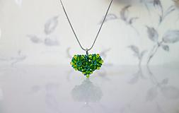 Náhrdelníky - Zelené srdce+náušnice zdarma - 11670279_