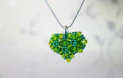 Náhrdelníky - Zelené srdce+náušnice zdarma - 11670282_