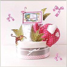 Detské doplnky - Plienková torta SAFARI ružová - 11670943_