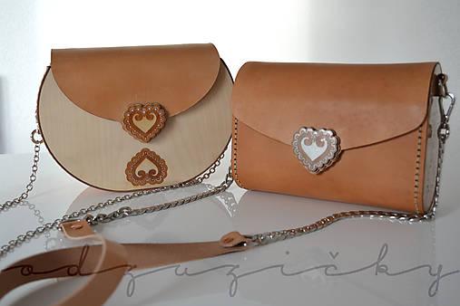 Kožená kabelka Zuzička (Béžová s popruhom - prírodný hladeica)