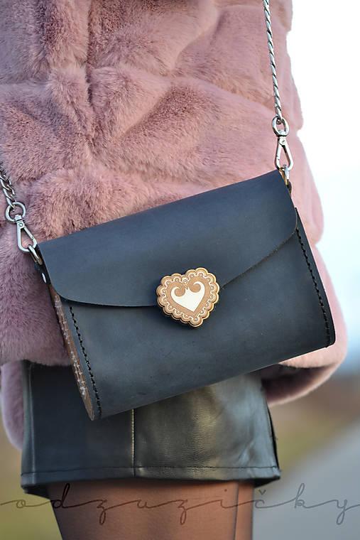 Kožená kabelka Zuzička (Modrá matná s popruhom)