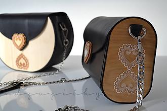 Kabelky - Kožená kabelka Zuzička (Čierna pigmentovaná koža) - 11670908_