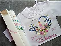 Detské oblečenie - Lotosy s anjelikom- Set do krstu s tenkou sviecou - 11673270_