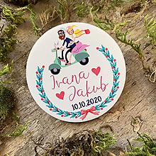 Darčeky pre svadobčanov - Magnetky pre svadobčanov párik na motorke - 11673350_