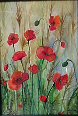 Obrazy - Maky v obilí - akvarel - 11674212_