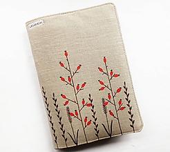 Papiernictvo - Obal na knihu nastaviteľný - Šípky (100%ľan) - 11674741_