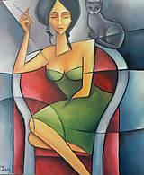 Obrazy - ŽENA S MAČKOU, kubismus - 11675574_