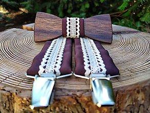 Doplnky - Pánsky drevený motýlik a traky - 11674846_