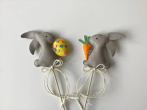 Dekorácie - Veľkonočné zajačiky - zápich (100% ekologické) - 11672967_