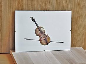 Obrazy - Husle so slákom, zátišie, akvarel, art print, nástenná dekorácia do domu - 11673424_