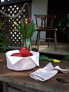 Úžitkový textil - Ľanový košík Sweet Dots - 11675267_