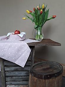 Úžitkový textil - Ľanový obrus Sweet Dots - 11675297_