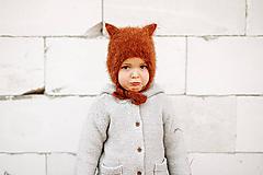 Čiapky - MIJANI Detská čiapka mačička - škoricová - 11676990_