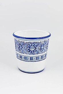 Nádoby - Kvetináč väčší (Modrý dekór) - 11676906_