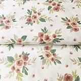Textil - ružové akvarelové ruže, zmesové plátno, šírka 140 cm - 11678083_