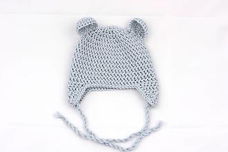 Detské čiapky - Bledomodrá ušianka macko EXTRA FINE - 11677846_
