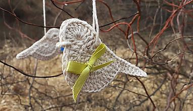Dekorácie - Jutový vtáčik - 11677261_