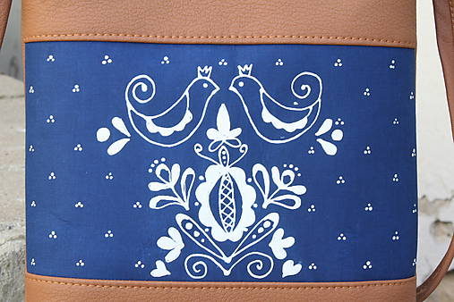 modrotlačová kabelka Dara XL hnedá AM