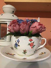 Dekorácie - Kvetinová šálka - 11678227_