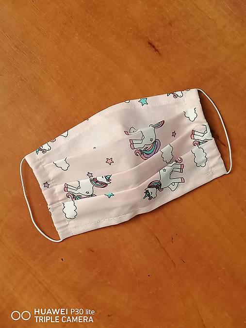 Detské rúška na tvar s gumičkou unicorn len v MODREJ (1,2 a 3 vrstvové) (3-vrstvové 14x7cm do 10r.)