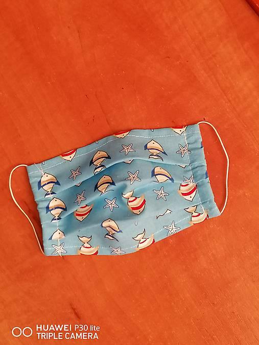 Detské rúška na tvar s gumičkou rybičky (1,2 a 3 vrstvové) (3-vrstvové 14x7cm do 10r.)