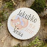 Magnetky na pamiatku s dátumom narodenia a menom dieťatka líška