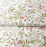 Textil - ružové akvarelové listy, zmesové plátno, šírka 140 cm - 11679111_