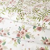 Textil - ružové akvarelové listy, zmesové plátno, šírka 140 cm - 11679114_