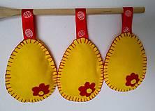 Dekorácie - Žlto-červené velkonočné vajíčka - 11679859_