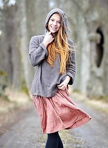 Sukne - Lněná sukně - světlá terakota - 11679248_